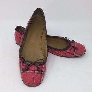J. Crew Wool Ballet Flats Scalloped Leather Trim